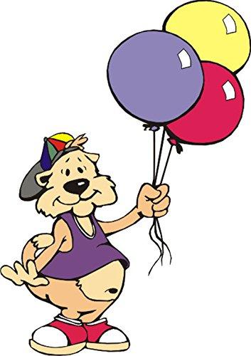 T-Shirt E636 Schönes T-Shirt mit farbigem Brustaufdruck - Logo / Grafik - Comic Design - lustige Katze mit bunter Mütze und Ballons Mehrfarbig