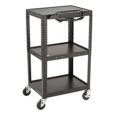 School Outfitters NOR-GNO1009-SO Norwood Commercial Furniture Adjustable Metal AV Cart with Electric Power Cord, Black, 26-42