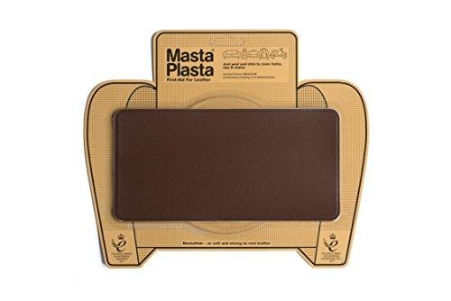 New Colour! Mid-Brown MastaPlasta Self-Adhesive Leather Repair Patches. Choose size/design. First-aid for sofas, car seats, handbags, jackets etc. (MID-BROWN SUPER-PLAIN 20cmx10cm) (Design Gepflegte Navy)