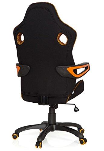 41hE1RxsJSL - hjh OFFICE 621850 RACER PRO IV - Silla gaming y oficina, tejido negro/gris/naranja