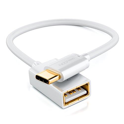 deleyCON 0,1m USB 2.0 OTG Adapter Kabel - C-Stecker auf A-Buchse - Datenkabel Smartphone & Tablet verbinden mit USB Stick USB Festplatte - Weiß