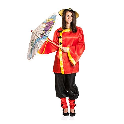 Chinese Kostüm - Kostümplanet® Chinesen-Kostüm Damen Chinesin China Karnevalskostüm Größe 44/46