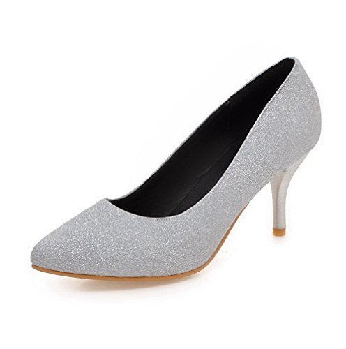 Voguezone009 Senhoras Puxar Dedo Do Pé Apontado Sapatos De Salto Alto Bombas Prata Puramente Sequin