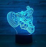 ZJFHL 3D Lampe Illusion Optique LED Veilleusemoto7 Couleurs Tactile Lampe de Chevet...
