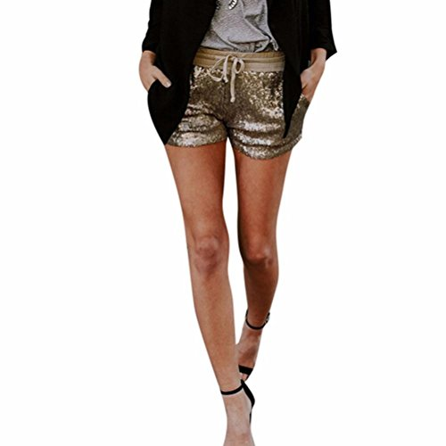 Kurzehose Damen,Sonnena Sommer Mode Frauen Mittlere Taille Glitzer Hotpants Mini Hosen Damen Elegant Tunnelzug Shorts Sommerhose Sport Yoga Kurze Hose Strandhose (L, Gold Sexy)