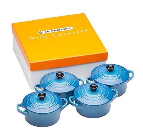Le Creuset 91006900310010 Le Set di 4 Mini Cocotte in Gres smaltato, 0.2 L-Blu (Marsiglia)