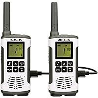 Retevis RT45 Plus Talkie Walkie sans Licence 16 Canaux Professionnel Rechargeable PMR446 Talkie-Walkie 121 Codes LED VOX Scan Surveillance 10 Tonalité d'appel Talkie Walkies (Argenté, 2pcs)