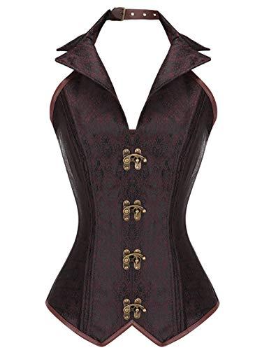 FeelinGirl Damen Korsett mit Stahlstäbchen - Brokatmuster - Retro/Gothic/Steampunk-Stahl ohne Knochen, Braun 8, XXL(EU 42) (Stahl Blau Kleid)