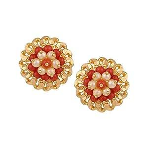 Lagu Bandhu 22k (916) Yellow Gold and Coral Stud Earrings