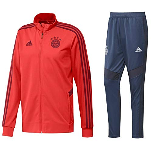 adidas Fußball FCB FC Bayern München Herren Trainingsanzug 2019/20 Jacke Hose rot Gr M