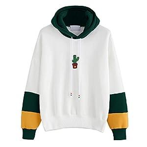Hmeng Sweatshirt Pullover Fleece Drop Schulter gestreiften Hoodie