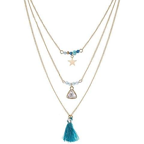 lureme® stile bohemien tono oro collana turchese perline nappa tre catena strati (Tono Oro Nappa)