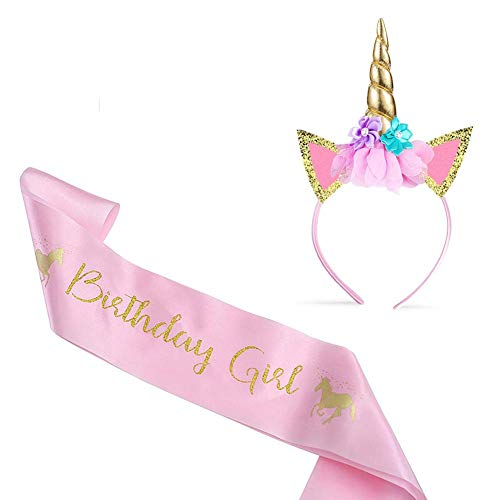 a686c147c2b2 Alohar Unicorn Headband & Birthday Sash - Unicorn Gifts for Girls Unicorn  Party Bags Unicorn Horn Birthday Party Cosplay Glitter Hairband