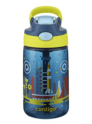 Contigo AUTOSPOUT® Straw Striker ǀ Kinder-Trinkflasche ǀ BPA-frei I 414 ml ǀ integrierter Strohhalm I auslaufsicher ǀ Raumstation