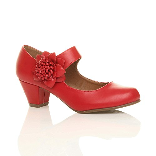 WOMENS LADIES MID CHUNKY HEEL MARY JANE FLOWER PADDED COMFORT SHOES SIZE 6 39