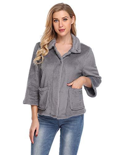 Lusofie Nachtwäsche Womens Button Up Lounge Jacken Flanell Bettmäntel (Dunkel Grau, L) Button-up-mantel