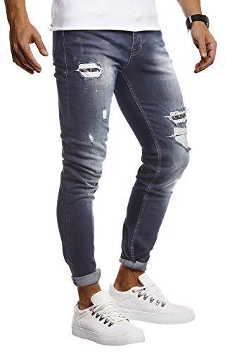 Leif Nelson Herren Jeans Hose Stretch Slim Fit Denim Blaue Lange Jeanshose für Männer Coole Jungen weiße Freizeithose Schwarze mit Nieten Cargo Chino Sommer Winter Basic LN9425 Blau W32L30