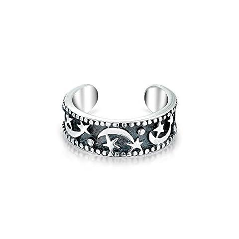 Bling Jewelry Bague argent lune et étoiles célestes brassard d'oreille un morceau de bande