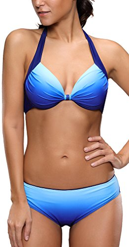 EUDOLAH Damen Zweiteiliger Neckholder Bikini Set Push Up Tankini mit Bügeln UV Schutz Swimmwear (EU 38/ Medium, Marineblau)
