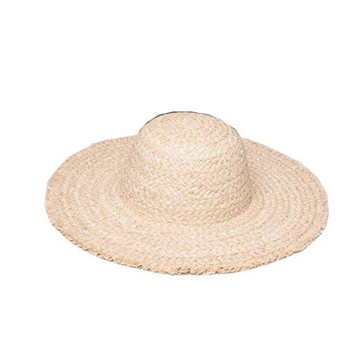 Surker Ladies Summer Straw Beach Sun Hat large bord pour les femmes Beige