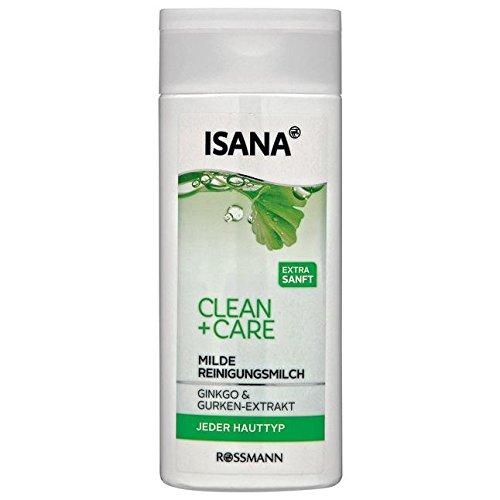 ISANA Clean + Care milde Reinigungsmilch 200 ml jeder Hauttyp, mit Ginkgo & Gurken-Extrakt, extra...