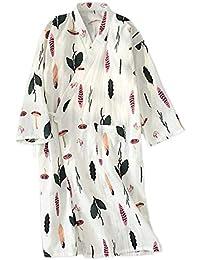 YTFOPLK Nueva Hoja Fresca De Verano Batas De Kimono Batas De Baño De Gasa De Algodón Delgadas Ocasionales De Las Mujeres Camisones…