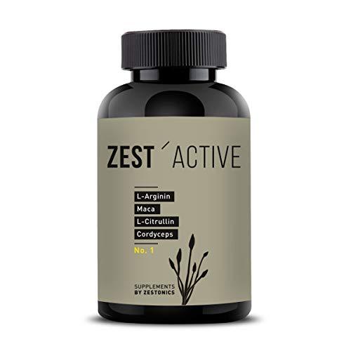 VERGLEICHSSIEGER 2020 bei ARGININ.DE: L-Arginin Base plus Citrullin (entspr. 2.400mg Arginin HCL) plus Maca Extrakt 680mg (entspr. 34.gr Maca Pulver) HOCHDOSIERT & Cordyceps sinensis - zest\'active