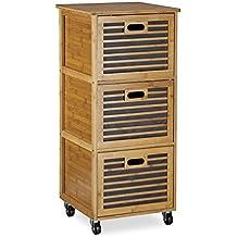 beautiful relaxdays caisson roulettes avec tiroirs tagre colonne de rangement en bambou salle de. Black Bedroom Furniture Sets. Home Design Ideas