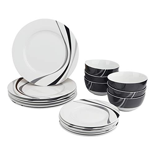 AmazonBasics - Geschirrservice, 18-teilig, Wirbel, für 6 Personen Service Plate