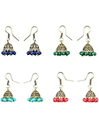 Waama Jewels Combo of 4 Earrings Multi Colour Fashion Jewellery Pretty Earring Jhumki Earrings Oxidised Latest & Fancy Collection for Women & Girls Wedding Jewellery Best Gift Earring Collection