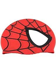 Avril Tian - Gorro de natación de silicona impermeable unisex, diseño de araña, modelo para deportes acuáticos y pelo largo