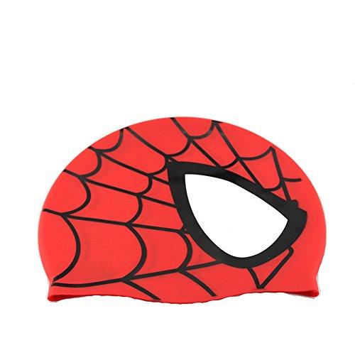 Avril tian cuffia da nuoto, unisex impermeabile in silicone nuoto cappello ragno modello capelli lunghi cappello per bambini, ragazzi e ragazze per sport acquatici red