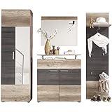 trendteam PL91158 Garderoben Set Garderobe 4-tlg. Eiche Nachbildung, Absetzung dunkelbraun, BxHxT 230x191x37 cm