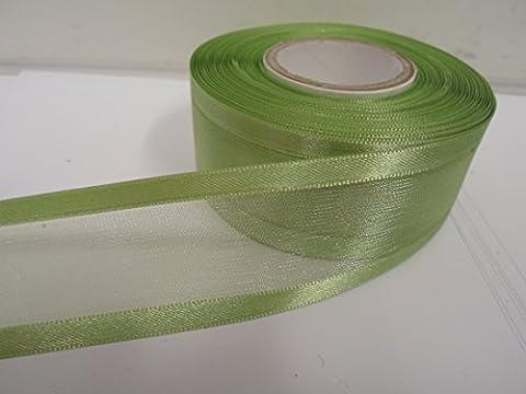 2 metres x 40mm Edged Organza Ribbon, Sage, Light Green,