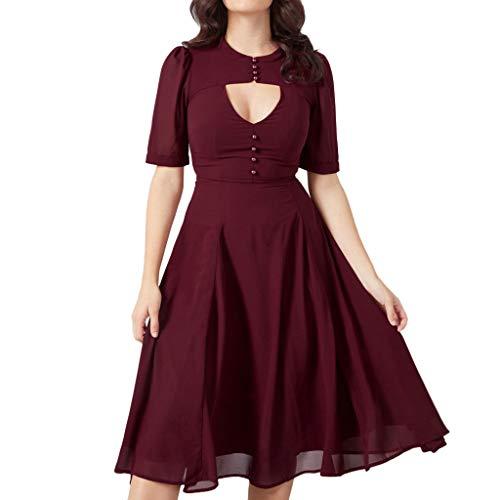 Frauen Größe derAusschnitt Kleid Lässige Short Ärmel schlank gefaltet Einfarbig Zipper Casual Lang Kleid URIBAKY