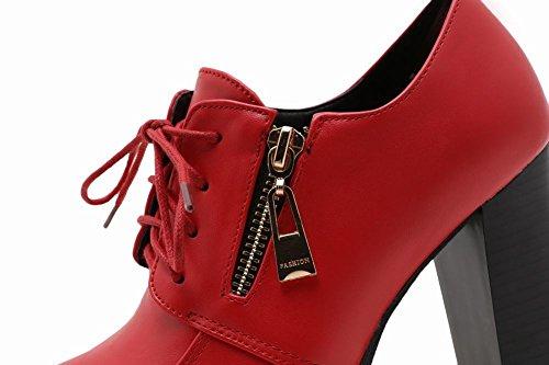 MissSaSa Donna Scarpe col Tacco Alto Plateau Punk e Casual Rosso