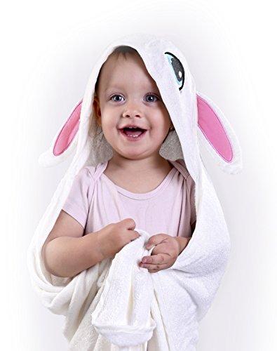 Gavi Soft Kapuzenhandtuch Baby | Kapuzenhandtuch Kleinkind | Badetuch mit Kapuze 90x90 cm | Schadstoffgeprüft | Antiallergen & Antibakteriell | Frottee – weich, kuschelig und saugfähig | Baumwolle und Bambusfaser | weiß - bestickt