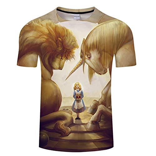 Ywfzzxs T-Shirt 3D Tops Mode-T-Shirts Unterhemden Kurzarm Unisex Neuheit Kostüm HD Anime Druck Riesenbestie (1600 Herren Kostüm)