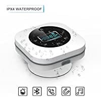 Bluetooth Altavoz Impermeable Inalámbrica estéreo, VICTORSTAR Mini Altavoz S603 Con Ventosa, Radio FM, Despertador y Manos libres, 10 horas de Tiempo de Juego para Ducha o Piscina (Blanco)