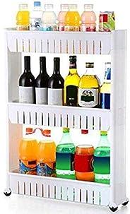 BePrincess 3-Tier Slim Storage, Cart Narrow Laundry Storage, Cart Slide Out Storage, Kitchen Trolley Spice Rac