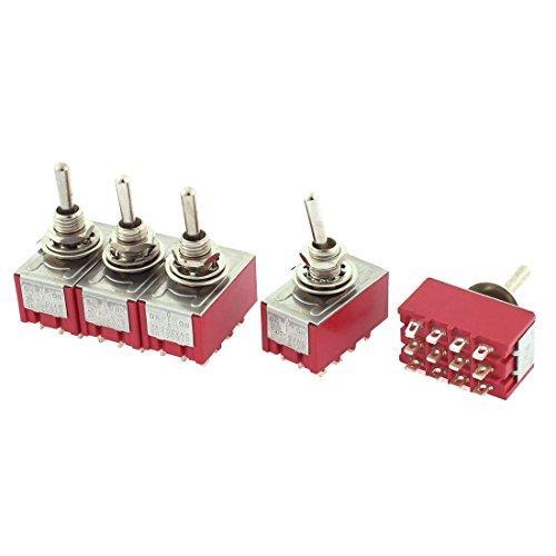 Deal Mux a15101200ux0863 Interrupteur à bascule AC 250 V 2 Amp, AC 120 V 5 Amp, 4PDT ON OFF ON 12 broches verrastend, Lot de 5
