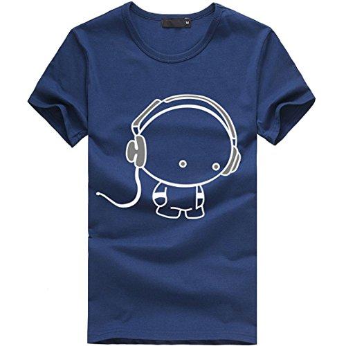 Amlaiworld Sommer-Charakter-nettes Muster-T-Shirt Oberseite für Mann, modernes und lustiges kurzes Hülsen-T-Shirt Baumwolle (XXL, blau) (Baumwoll-hochzeit-shorts)