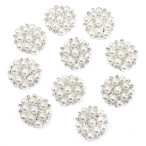 Stilvoll und einfach zu reinigen 10 stücke 20mm Blume Form Faux Perle Strass Flache Rückseite Nähen Knöpfe Silber