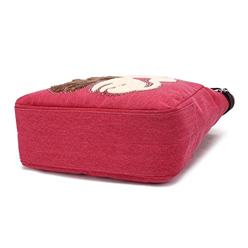 VRIKOO Women's Canvas Cartoon Cat Handbag Tote Mummy Bag Lightweight Shoulder Shopping Bags Rosso