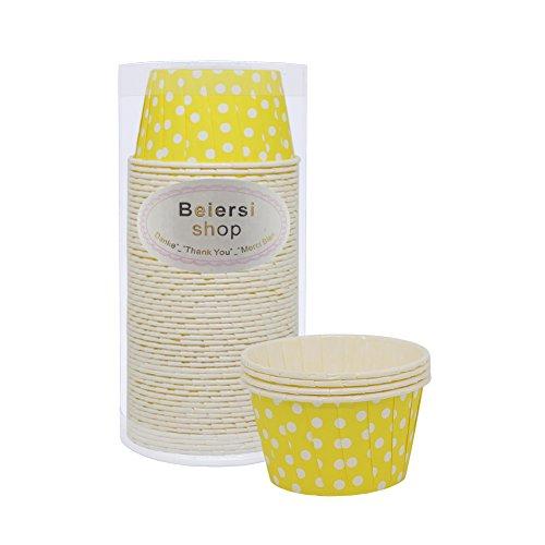 Beiersi 50Pcs Wellenpunkt Papier Kuchen Tasse Cupcake Fällen Liner Muffin Hohe Temperaturbeständige Backen Tassen (Gelb)