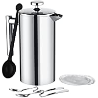 TOPELEK GEHM055AS French Press Catefiere, Metal Cafeiere with 8 Cups Coffer Maker, Double Walled Construction,5 Pieces Additional Replacement Filter Screen-1 Liter