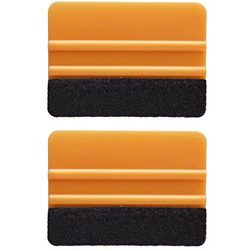 Ehdis® [2PCS] di alta qualità in feltro Bordo seccatoio 4 pollici per l'automobile del vinile della decalcomania ruspa applicatore strumento con bordo del tessuto di feltro nero - Oro PP raschietto
