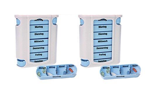 2 er Pack ( = 2 Stück ) praktischer Medikamentendosierer , Pillendose,Pillenbox , Tablettenbox , Wochendosierer , 14 Tage - aus dem KAMACA-SHOP