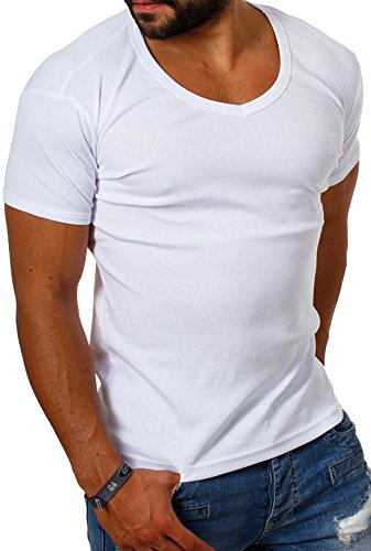 Young & Rich Herren Uni feinripp Basic T-Shirt tiefer runder V-Ausschnitt slimfit deep round V-Neck einfarbig 1874, Grösse:L;Farbe:Weiß (Gerippter V-neck-shirt)