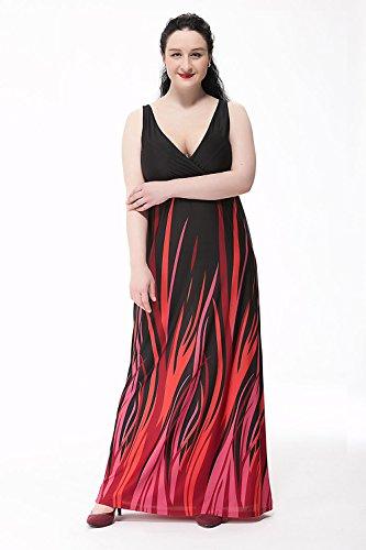 Moollyfox Femme Robe Bohème Imprimée de Cocktail Longue Robe De Plage Grande Taille L-6XL Noir